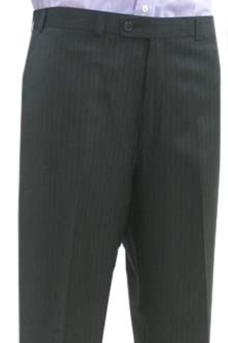 SKU#MSK734 Cotton Summer Light Weight Black Shadow Stripe Flat Front Pant $95
