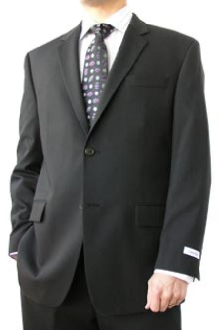 SKU#VHA127 Cotton Summer Light Weight Umo Black 2 Button Side Vents Flat Front Pant 100% Superfine Cotton $259