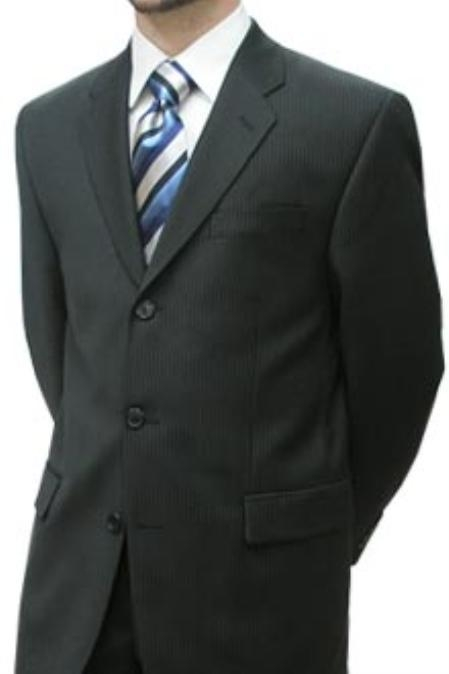 SKU#HHI673 Cotton Summer Light Weight Black Pinstripe Single Breasted 3 Button without pleat flat front $259