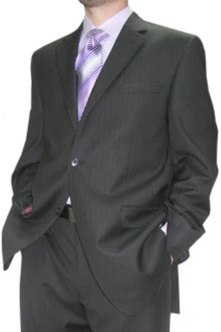 SKU#KKA611 Cotton Summer Light Weight Black Stripe 2 Button Flat Front Pant $245