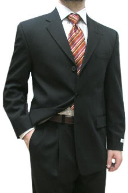 SKU#EFA456 Cotton Summer Light Weight Black Single Breasted 3 Button Side Vents Flat Front Pant $335