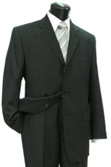 SKU#FRT411 Cotton Summer Light Weight Black Pinstripe Single Breasted 3 Button Side Vents Flat Front Pant $255