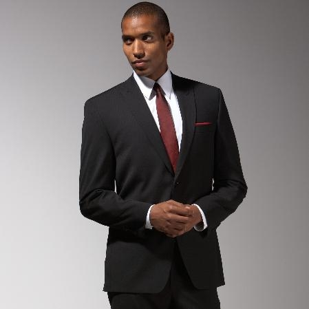 SKU#XR632 Cotton Summer Light Weight Black Suit $249