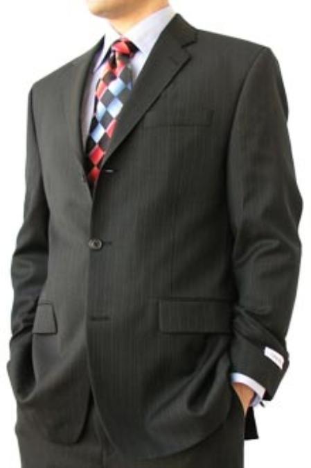 SKU#ERT534 Cotton Summer Light Weight Black Pinstripe 3 Button Side Vents Flat Front Pant $305