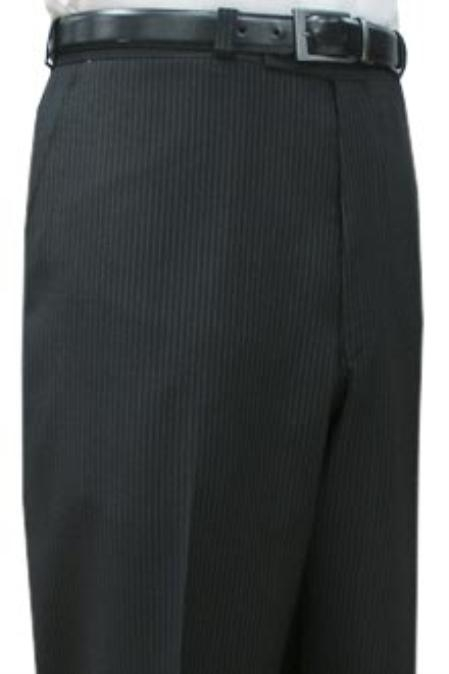 SKU#DSA221 Cotton Summer Light Weight Black Pinstripe CK Flat front pant