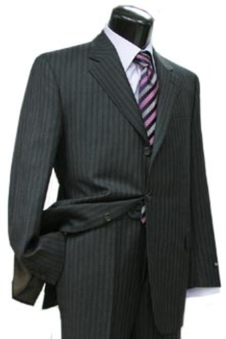 SKU#JEW412 Cotton Summer Light Weight Black Multi Stripe Single Breasted 3 Button Side Vents Flat Front Pant $285