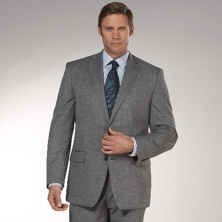 SKU#NA273 Authentic Mantoni Brand Cotton Summer Light Weight Black and White Check Suit $189