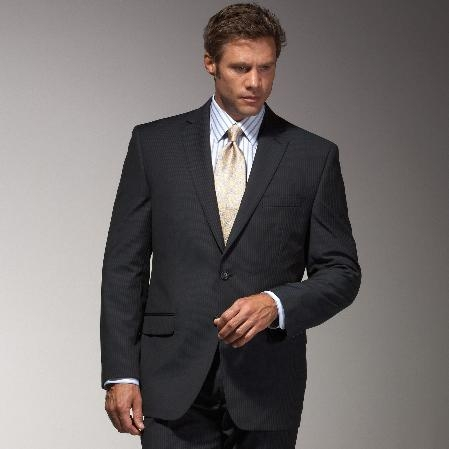 MensUSA.com Cotton Summer Light Weight Blue Multistripe Suit(Exchange only policy) at Sears.com
