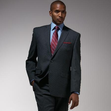 SKU#KS843 Cotton Summer Light Weight Charcoal Stripe Suit $249