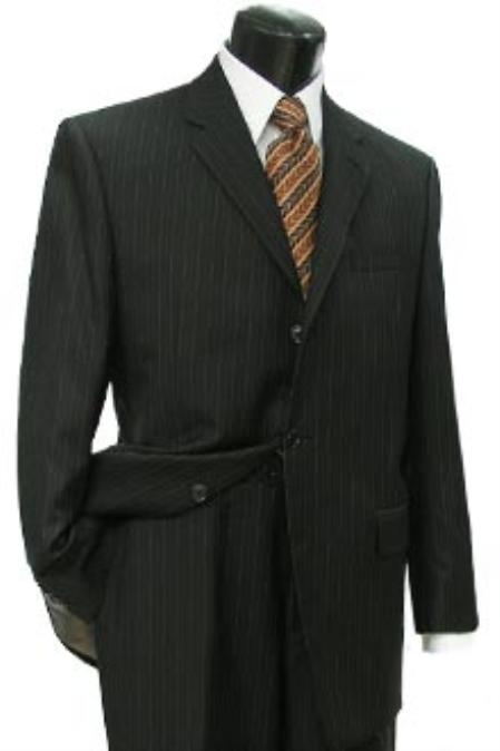 SKU#BHA451 Cotton Summer Light Weight Dark Brown Striped 3 Button with Side Vents Flat Front Pant $355