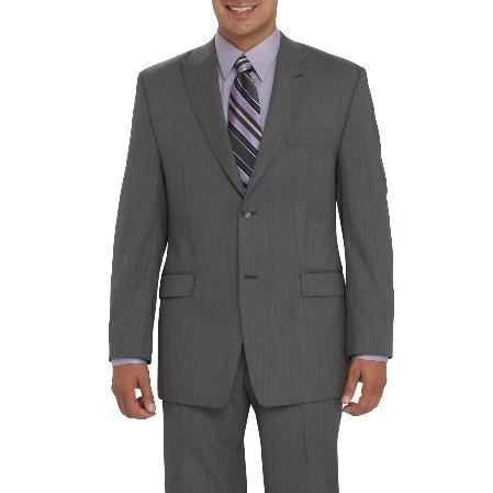 SKU#EX842 Authentic Mantoni Brand Cotton Summer Light Weight Gray Suit $189