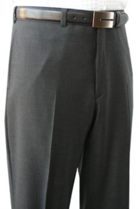 SKU#EJK956 Cotton Summer Light Weight Grey Shadow Stripe Flat Front Pant 100% SuperfineCotton $95