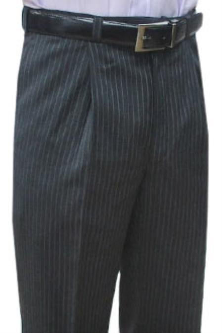 SKU#HER411 Cotton Summer Light Weight Grey Stripe CK Single Pleat Pant
