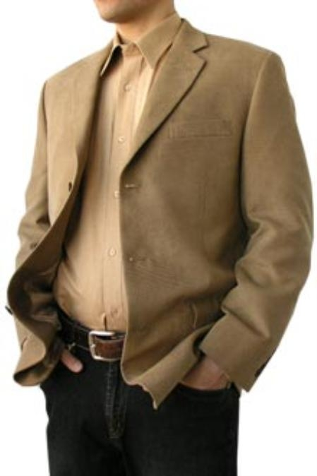 SKU#SLP371 Cotton Summer Light Weight Micro Suede Twill 3 Button Tan Blazer $500