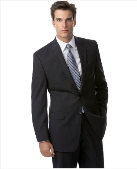SKU#TZ632 Authentic Mantoni Brand Navy Blue Stripe ~ Pinstripe Suit Separates