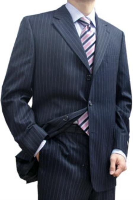 SKU#MAP834 Cotton Summer Light Weight Navy Stripe 3 Button Side Vent Flat Front Pant $285
