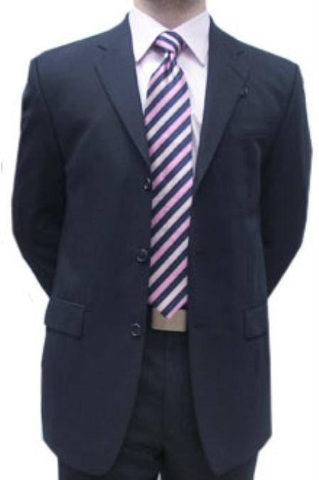 SKU#DQA312 Cotton Summer Light Weight Navy Single Breasted 3 Button Side Vents Flat Front Pant $335