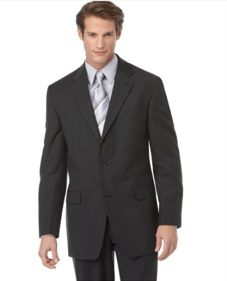 SKU#ER842 Authentic Mantoni Brand Suit, Tonal Stripe ~ Pinstripe