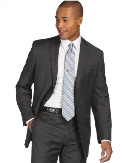 SKU#WB735 Authentic Mantoni Brand Suit, Charcoal Stripe Slim Fit $175