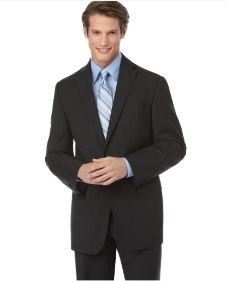 SKU#NE924 Authentic Mantoni Brand Cotton Summer Light Weight Suit, Black Tonal Check Slim Fit $189