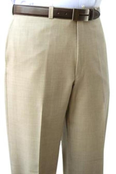 SKU#PSK481 Cotton Summer Light Weight Tan ~ Beige Flat Front Pant 100% Superfine Cotton