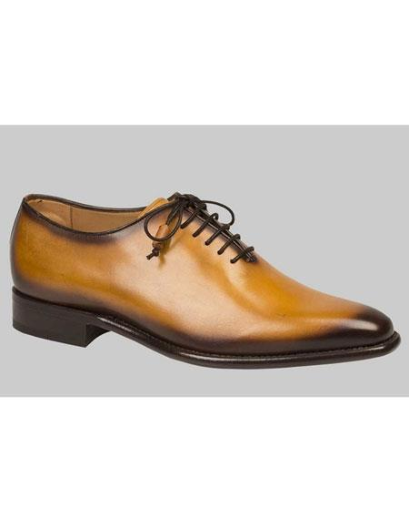 Buy AP455 Mens Camel Calfskin Lace Burnish Leather Shoes Authentic Mezlan Brand