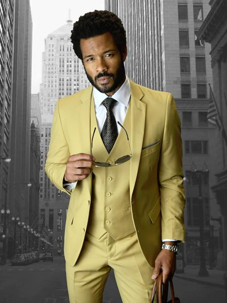 Statement Brand Camel ~ Gold ~ Khaki Color Slim Fitted Skinny Vested 3 Piece Suit 2 Buttons Style Wool Fabric