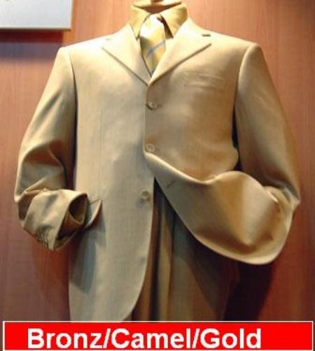 SKU# IPH625 Camel/Gold Tan 3 Buttons Mens Synthetic Light & Soft Fabric Poly~Rayon Suits