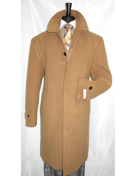 Mens Dress Coat Full Length Dress Top Coat / Overcoat in Camel
