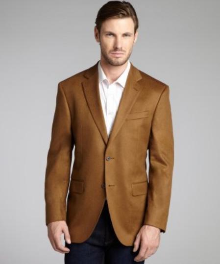 SKU#2BV-J40912C Camel ~ Khaki Wool & Cashmere Blend 2 Button Blazer