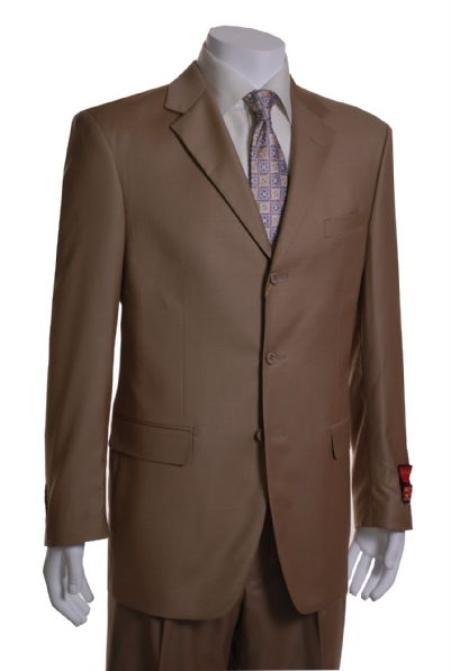 SKU#UI553 Camel 3 Button Vented 1 Pleat Wool Suit $275