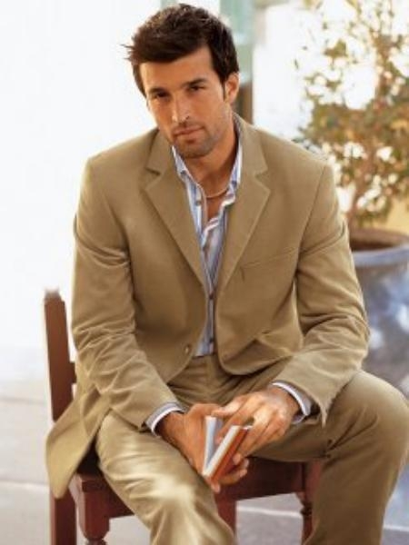 SKU# ZC150 Camel Color Super 150s Wool Mens Suit by Signature Platinum Stays Cool Discounted Sale $160