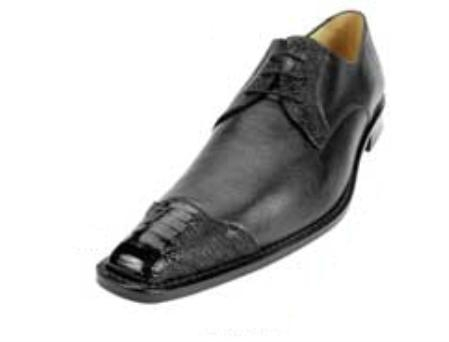 Belvedere Cane Point Toe made of Ostrich Leg and Soft Calf in Black $249