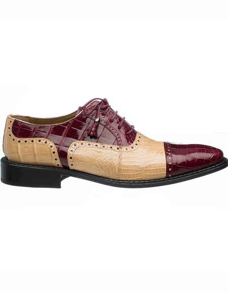 Ferrini Men's Maroon Dress Shoe ~ Burgundy Dress Shoe ~ Wine Color Dress Shoe/Tan World Best Alligator ~ Gator Skin & Ostrich Quill Tasseled Laces Leather Cap Toe Shoes