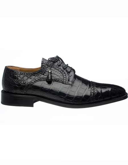 Ferrini Men's Genuine World Best Alligator ~ Gator Skin Cap Toe Black Tasseled Laces Shoes