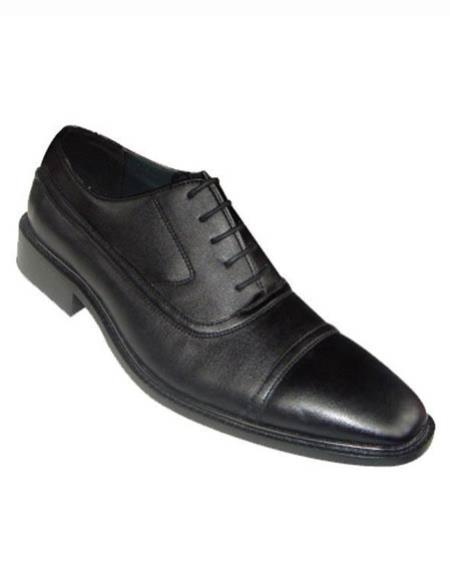 SKU#SM3010 Mens Laceup Cap Toe Style Solid Leather Dress Shoes Black