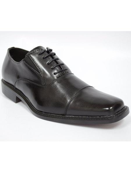 SKU#SM1737 Mens Cap Toe Black Solid Lace Up Heel Dress Shoes