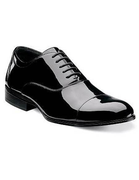 Buy CH117 Mens Cap Toe Laceup Patent Uppers Black Formal Shiny Tuxedo Dress Shoes