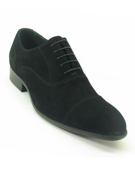 Mens Fashionable Carrucci Cap Toe Laceup Style Suede Black Loafer