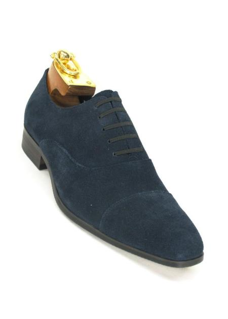 Carrucci Blue Mens Cap Toe Leather Suede Lace Up  Slip On Style Shoes