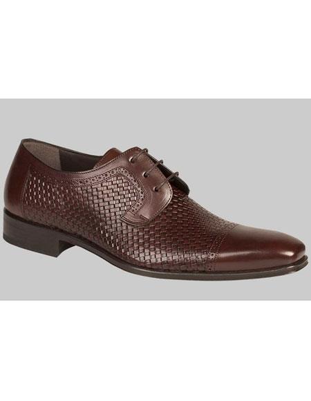 Buy AP449 Mens Brown Woven Calfskin Cap Toe Lace Leather Shoes Authentic Mezlan Brand