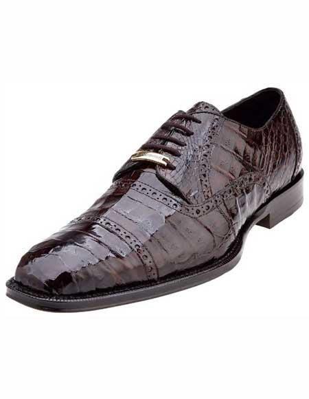 Belvedere Mens Italian Brown Cap Toe Style Crocodile Shoes