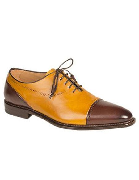 Sku Ap501 Mens Brown Mustard Cap Toe Italian Calfskin Lace Up Leather Shoes Authentic Mezlan Brand