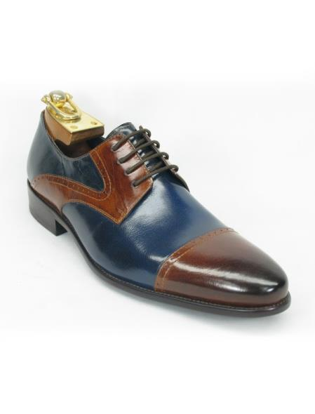Mens Cap Toe Fashionable Carrucci Brown/Navy Lace Up Style Shoe