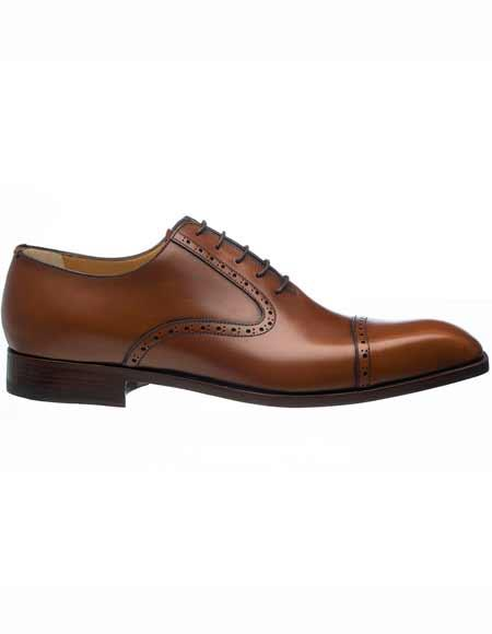 Ferrini Mens Italian French Calfskin Jamaica Cap Toe Oxford Leather Sole Shoes
