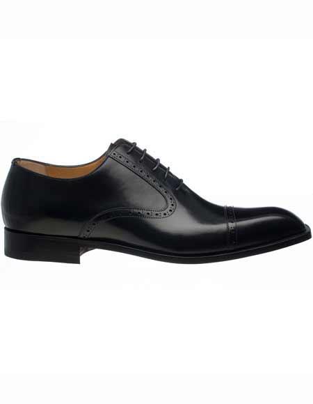 Ferrini Men's Italian Black French Calfskin Oxford Cap Toe Leather Sole Shoes