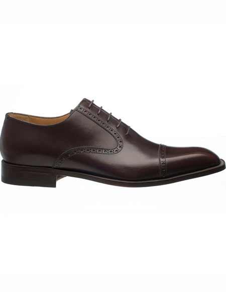 Brown Dress Shoe Ferrini Mens Italian Cap Toe French Calfskin Oxford Leather Sole Dark Brown Shoes