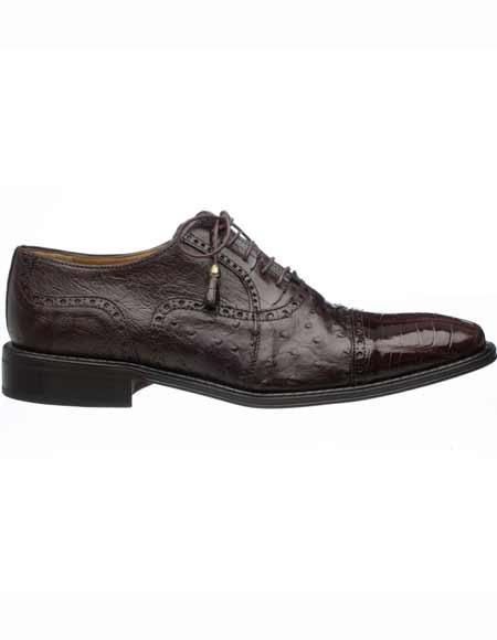 Buy SM2594 Ferrini Men's World Best Alligator ~ Gator Skin & Ostrich Quill Cap Toe Chocolate Tasseled Laces Leather Shoes