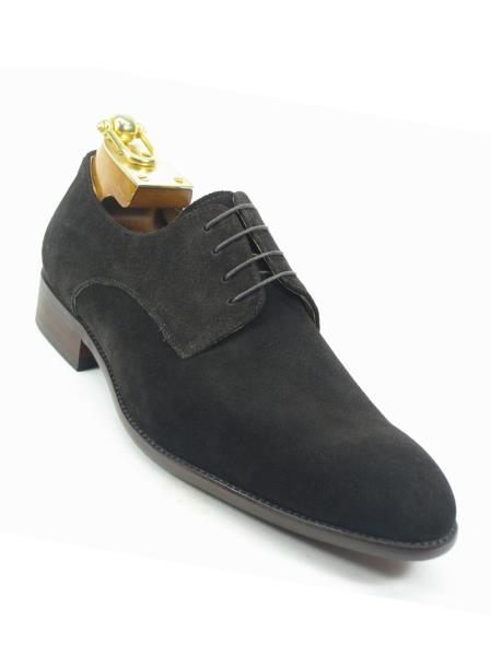Mens Cap Toe Laceup Style Suede Fashionable Carrucci Shoes Dark Brown