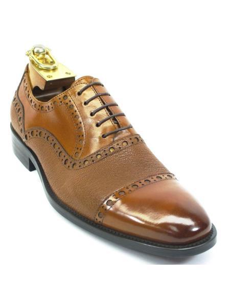 Buy SM4271 Carrucci Men's Cognac Cap Toe Lace Genuine Deer Leather Oxford Shoes